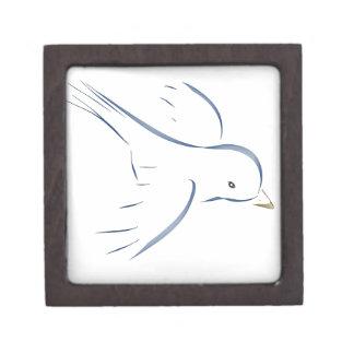 Flying blue bird original drawing keepsake box