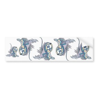 Flying blue dragon cut out stickers bumpersticker