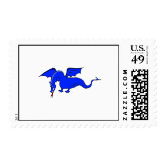 Flying Blue Fire Breathing Dragon Postage