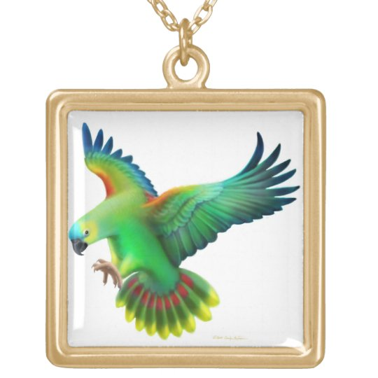 Flying Blue Front Amazon Parrot Necklace