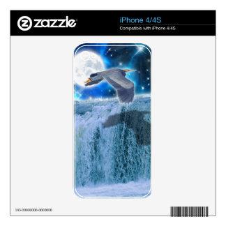 Flying Blue Heron Wildlife Fantasy Gift Design iPhone 4 Skins