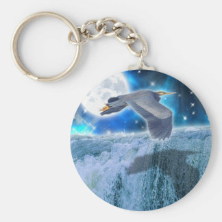 Flying Blue Heron Wildlife Fantasy Gift Design Keychain