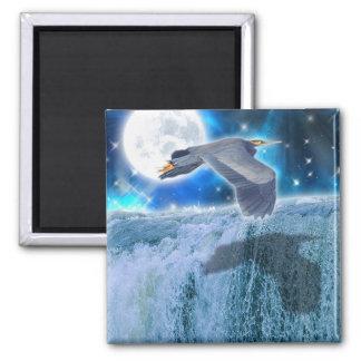 Flying Blue Heron Wildlife Fantasy Gift Design Magnet
