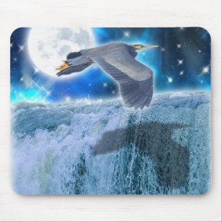 Flying Blue Heron Wildlife Fantasy Gift Design Mouse Pad