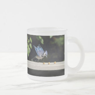 Flying Blue Jay Photo Frosted Glass Coffee Mug