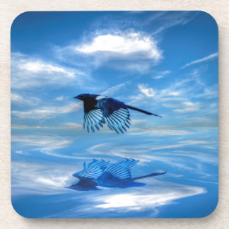 Flying Blue Magpie & Reflected Sky Beverage Coaster
