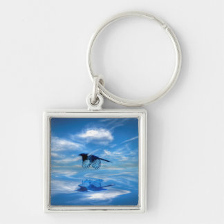 Flying Blue Magpie & Reflected Sky Silver-Colored Square Keychain