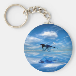 Flying Blue Magpie & Reflected Sky Keychain