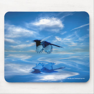 Flying Blue Magpie & Reflected Sky Mousepads