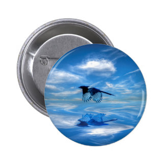 Flying Blue Magpie & Reflected Sky Pinback Button