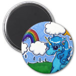 Flying Blue Unicorn with rainbow 2 Inch Round Magnet