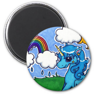 Flying Blue Unicorn with rainbow Magnet