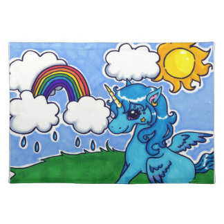 Flying Blue Unicorn with rainbow Placemat