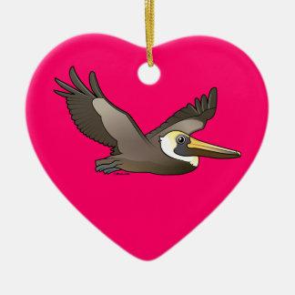 Flying Brown Pelican Ceramic Ornament
