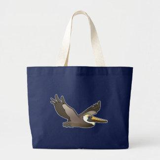 Flying Brown Pelican Large Tote Bag
