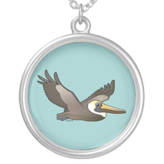 Flying Brown Pelican Round Pendant Necklace