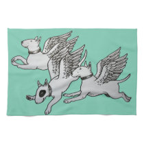 Flying Bull Terriers Tea Towel