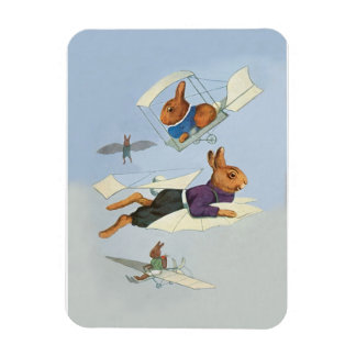 Flying Bunny Rabbits; Cute Anthropomorphic Animals Rectangle Magnet