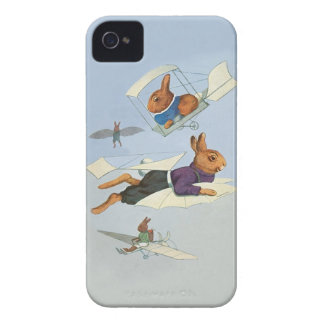 Flying Bunny Rabbits - Cute Funny Vintage iPhone 4 Cases