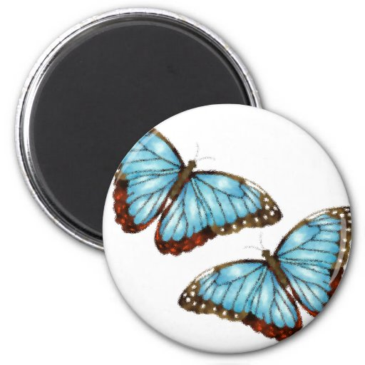 Flying Butterflies 2 Inch Round Magnet