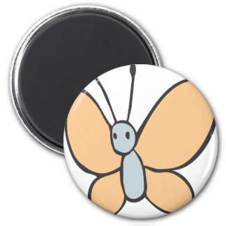 Flying Butterfly Cartoon 2 Inch Round Magnet