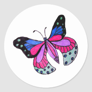 Flying Butterfly Classic Round Sticker