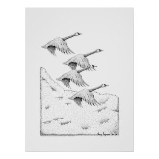 Flying Canada Geese Pen and Ink Drawing Poster