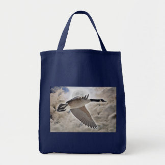 Flying Canada Goose and Clouds Photo Tote Bag