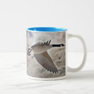 Flying Canada Goose & Clouds Wildlife Drinking Mug