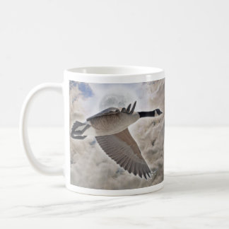 Flying Canada Goose & Clouds Wildlife Drinking Mug