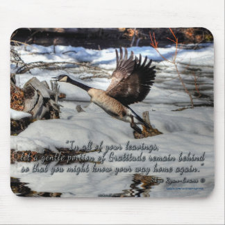 Flying Canada Goose & Snow w Poem Wildlife Photo Mouse Pad