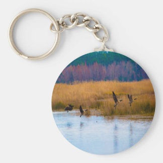 Flying Canadian Geese Basic Round Button Keychain