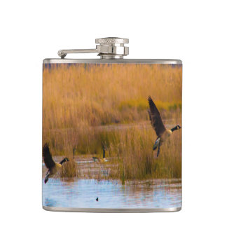 Flying Canadian Geese flask