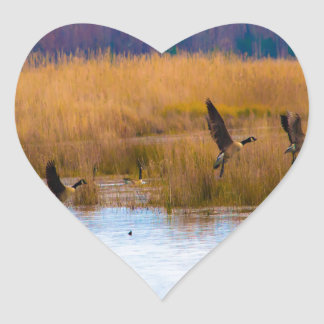 Flying Canadian Geese Heart Sticker