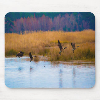 Flying Canadian Geese Mouse Pad