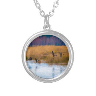 Flying Canadian Geese Round Pendant Necklace