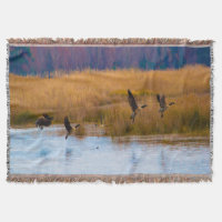 Flying Canadian Geese Throw Blanket