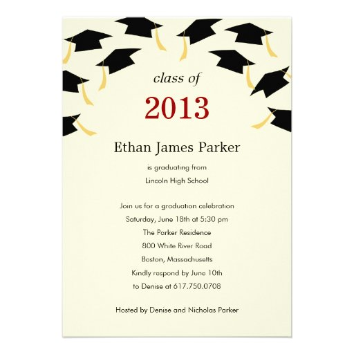 "Flying Caps Graduation Party Invitation 5"" X 7"" Invitation Card | Zazzle"