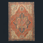 """Flying Carpet Ride Kitchen Towel<br><div class=""""desc"""">Rub your lamp and make a wish! This Flying Carpet Ride kitchen towel features the image of a classic, antique Persian rug from the late 19th century. The colors, in shades of red, green, blue and ivory, will look lovely with any decor. It&#39;s like owning a valuable vintage textile that...</div>"""