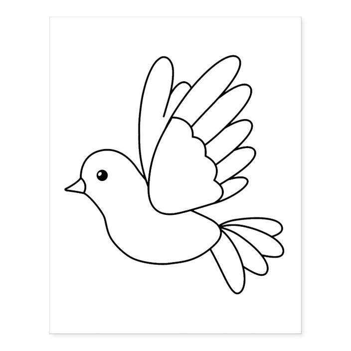 Flying Cartoon Dove Bird Coloring Page Rubber Stamp Zazzle Com