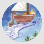 Flying Catboat 1 Classic Round Sticker