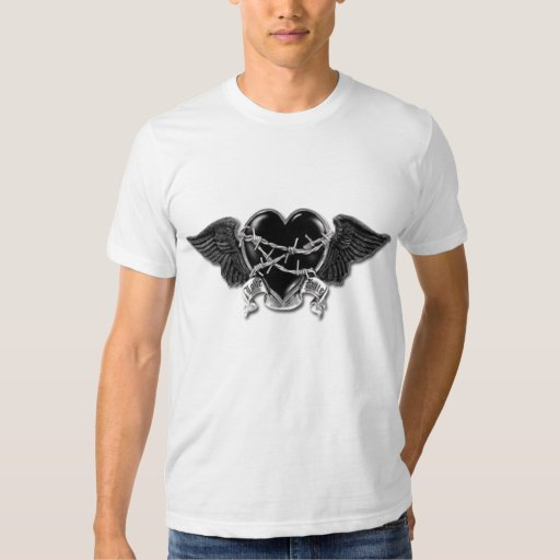 Flying Chained Heart on White T-Shirt