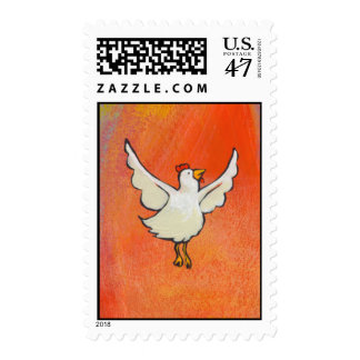 Flying Chicken - Inspirational colorful fun art Postage