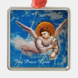FLYING CHRISTMAS ANGEL IN BLUE. FLIGHT INTO EGYPT METAL ORNAMENT