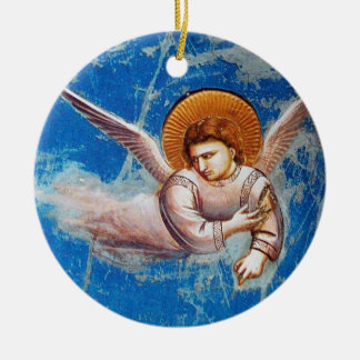 FLYING CHRISTMAS ANGEL IN BLUE SKY, FLORAL CROWN CERAMIC ORNAMENT