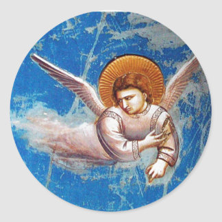 FLYING CHRISTMAS ANGEL IN BLUE SKY, HOLIDAY PARTY CLASSIC ROUND STICKER