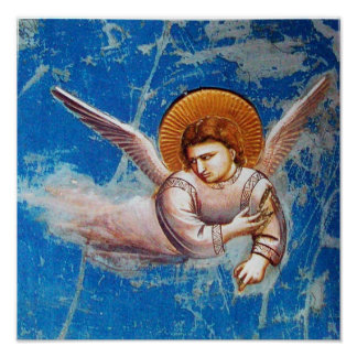 FLYING CHRISTMAS ANGEL IN BLUE SKY POSTER