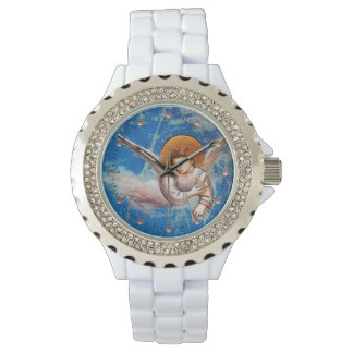 FLYING CHRISTMAS ANGEL IN BLUE SKY WATCH