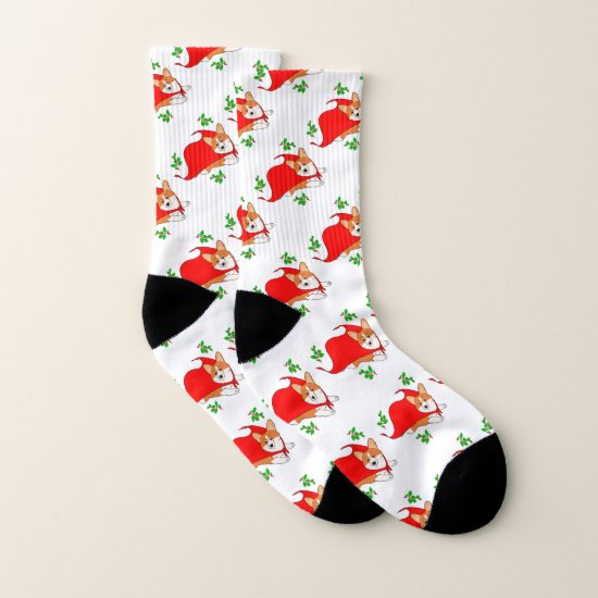 Flying Christmas Corgi Socks