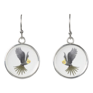 Flying Cockatiel Parrot Drop Earrings